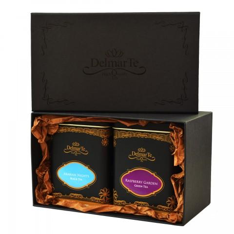 Луксозен подаръчен комплект с чай по избор DelmarTe Premium